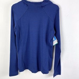 NWT Columbia hooded pullover size L blue stripe